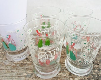 Vintage Set of Five Libbey Turquoise, Pink, Green, and White Juice Glass,  Conestoga Wagon, Pioneers, Western, Flowers, Glassware, Kitsch