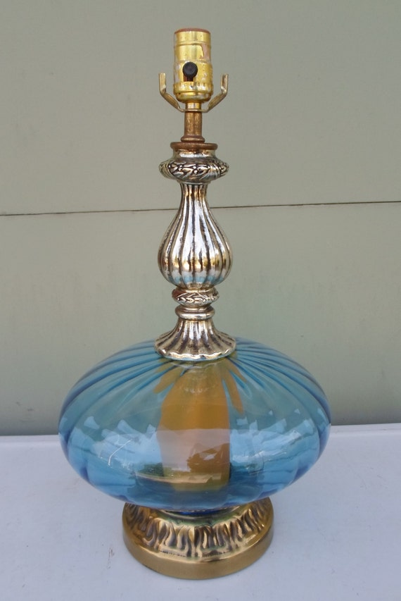 Vintage Blue Glass Table Lamp Antique Silver By