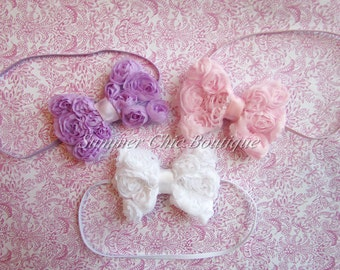 Baby Headband Set of 3 Mini Rosette Bows, Baby Headband, Baby Bows, Infant Headband, Newborn Headband, Bow Headbands