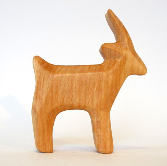 Goat wooden animal carved farm waldorf toy