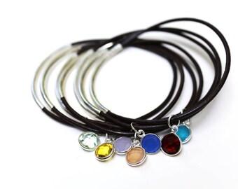 Leather Chakra Bangle Bracelet, Leather Bracelets for Women, Yoga Bracelet, Chakra Bracelet, Bohemian Jewelry, Tube Bracelet, Leather Bangle