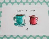 Coffee & cream - Illustrated flat note card