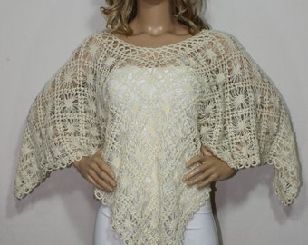 Hand Crochet Poncho, Ivory Poncho, Rectangular Poncho, Shawl, Cape, Womens Poncho, Wool Poncho by Arzu's Style