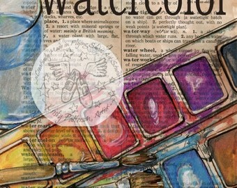 PRINT:  Watercolor Mixed Media Drawing on Distressed, Dictionary Page
