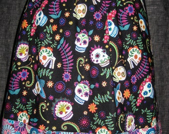 Mexican flowers and colorful sugar skulls- Miniskirt for ladies, girls- skull skirt * Cinco de Mayo / Dia de Los Muertos * Day of the Dead