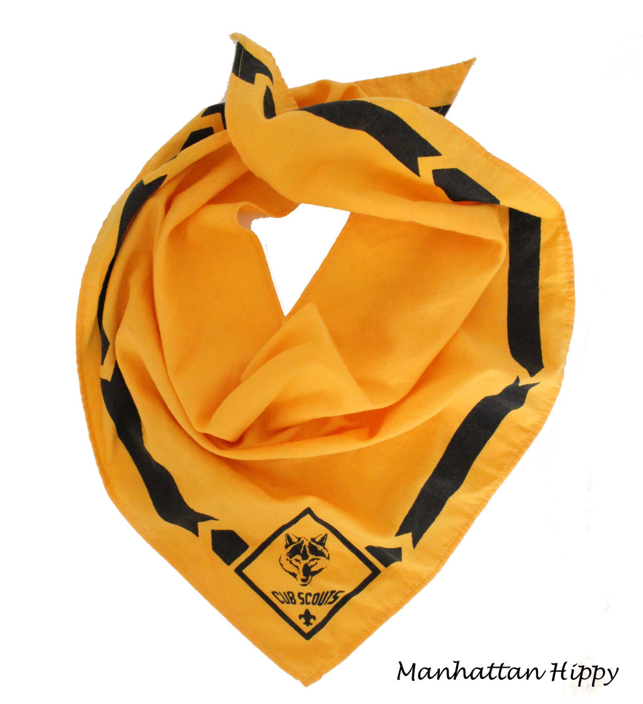 Vintage Bandana / Boy Scouts / Scarf / Yellow and Black