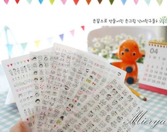 Drawing Deco Sticker Set - Korean Sticker - Diary Sticker - Face- 6 sheets in