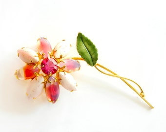 Pink Candy Art Glass Brooch Weiss Juliana Flower Jewelry Enamel   Rhinestone Pin Vintage Collectible Jewelry