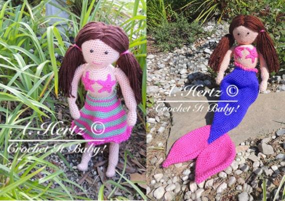 Crochet Dolls Hat Pattern : Crochet Amigurumi Magic Mermaid Doll PATTERN ONLY
