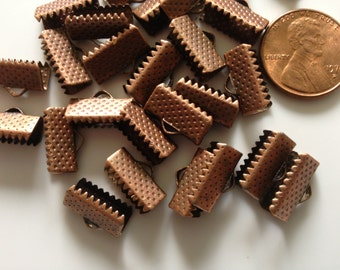30 Red Copper Ribbon Crimps, Antique Copper Plated Ribbon Crimp,  Ribbon Crimp End Caps- 13mm by 7mm