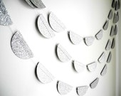 Silver Glitter Garland, Silver wedding decoration, Silver Glitter party garland,Silver baby shower decor - HoopsyDaisies