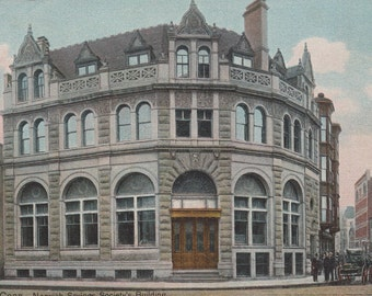 NORWICH, CONNECTICUT - Vintage Unused POSTCARD, Savings Society's Building, Anniversary of the Town, City, 1900s, Porteous & Mitchell Co.