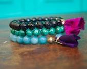 Amazonite, Blue Tiger Eye and Malachite Colorful Wrist Mala Throat Chakra Stack Gemstone Prayer Bracelets Yoga Beads Buddhist Womens Set