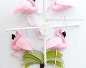 Pink Flamingo Baby Mobile, Baby Girl Nursery, Nursery Mobile, Baby Girl Mobile, Safari Mobile, Bird Baby Mobile, Flamingo Nursery