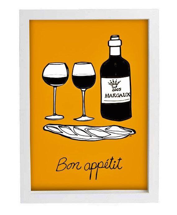 Yellow Kitchen Art Print Bon Appetit Kitchen Decor