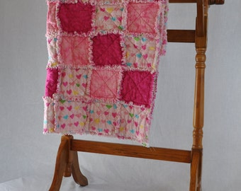 Pink Heart Rag Quilt 34 by 33 inches
