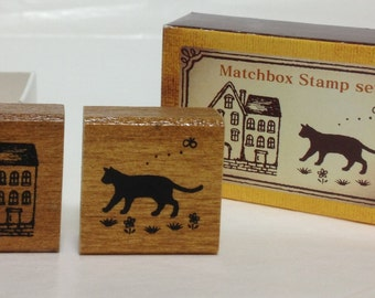 Cat & House Rubber Stamp (0837-012)