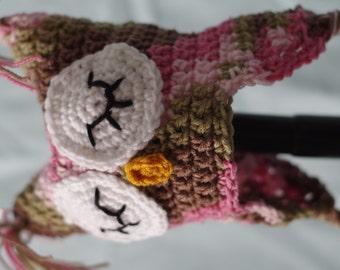 Pink Camo Owl Earflap Hat - Newborn