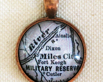 Miles City Montana Antique Vintage Map Pendant for Necklaces, Keychains, Bookmarks, and Bottle Openers