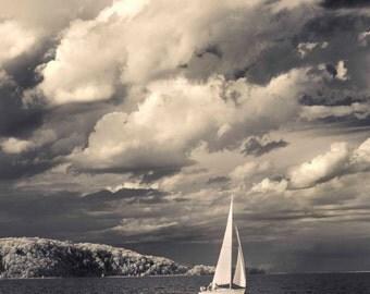 Sailing Photograph, Boating Photo, Sailboat Photography, Black and White, Lake Michigan, Traverse City, Michigan, West Bay