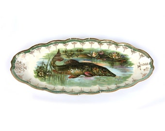 Antique Fish Serving Platter STERLING CROWN Fine China by Bawo & Dotter Gold Rim Scalloped Edge Lotus Flower Gar