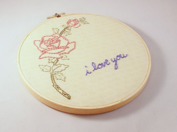 Vintage rose embroidery wall art valentine s day love gift