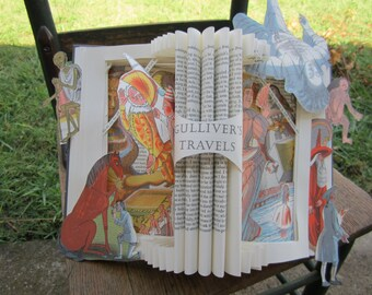Book Art - Gullivers Travels - Jonathan Swift - Altered Book - Sculpture