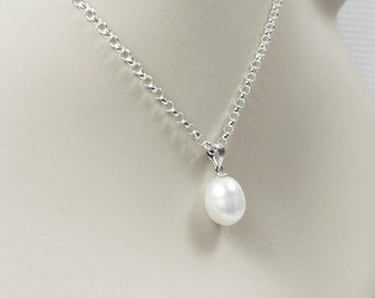 White Pearl Necklace, Pearl Drop Pendant Necklace, Bridesmaid Jewelry, Pearl Bridal Jewelry