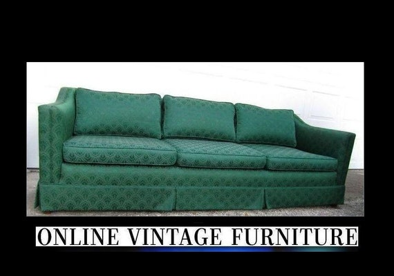 1940s Vintage Sofa Couch Davenport Long Mid By