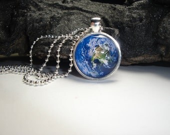 Earth Pendant with Silver Plated Ball Chain Included/Earth Pendant and Necklace