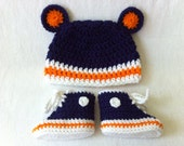 Chicago Bears-Inspired Converse Booties and Bear Ear Hat set - Preemie, Newborn and 3-6 months - Hand crochet shoes Baby Bear
