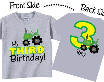 3rd Birthday Shirts and Tshirts with Tractor for Boys or Any Age Tees