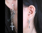 Gothic Cross Cuff to Stud Earrings, Stainless Steel Studs, Ear Cuff, Gothic Style Jewelry, Chain Cuff Earring, Jacket Earrings