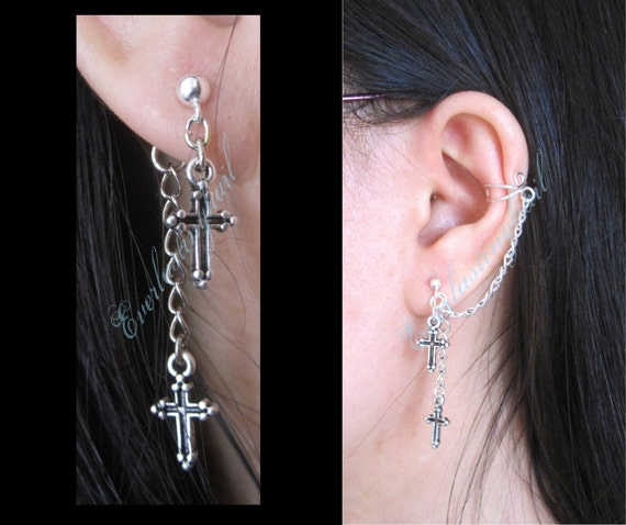 LAST ONE - Gothic Cross Cuff to Stud Earrings, Stainless Steel Studs, Ear Cuff, Gothic Style Jewelry, Chain Cuff Earring, Jacket Earrings