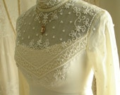 Pristine Beaded Champagne Wedding/Bridal High Neckline Gown by Bianchi of Boston and New York
