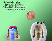 Girl Mold Flexible Silicone - School Girl - Pigtails - Resin - Polymer Clay - FOOD Safe - Fondant - Chocolate - Candy - S918M