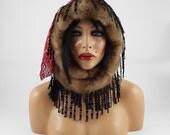 Designer Hat Felted Hat ETHNO BEAUTY Art Faux Fur Hat Gray Wild hat hats Felt wearable art Nunofelt Nuno felt