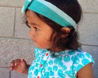 Striped Turban Bow Headband, Turban Headband, Infant Girl Turban Headband, Newborn Girl Turban Headband