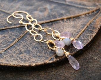 heron... gold amethyst and labradorite earrings / 14k gold filled, pale amethyst & labradorite / dangle earrings / february birthstone