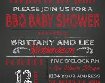 COUPLES bbq BABY SHOWER invitation chalkboard