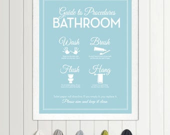 Guide to Procedures: The Bathroom - 11x14 print - Bathroom, Rules, Sign, Mid Century, Modern, Decor, Art, Wall, Wash, Brush, Flush, Hang