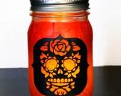 Day of The Dead Sugar Skull Mason Jar Candle Holder