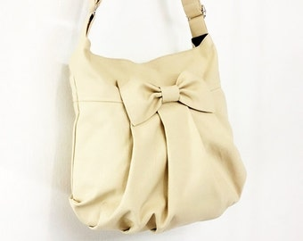 Cotton bag Canvas Bag Diaper bag Shoulder bag Hobo bag Tote bag Messenger bag Purse Everyday bag Bow bag  Cream  Tracy