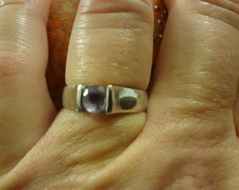 Silver Amethyst Ring Purple 925 Sterling Silver Gift Birthday Crystal Rhinestone Lilac Pretty in Purple