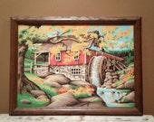 Vintage Paint by Number Mill with Water Wheel
