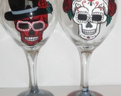 day of the dead couple wine glasses