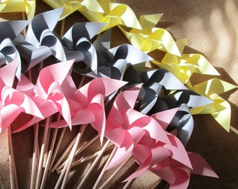Wedding Decoration Paper Pinwheels Wedding Favors 75 Custom Solid Wedding Pinwheels Twirling Pinwheels Paper Pinwheel Custom Wedding