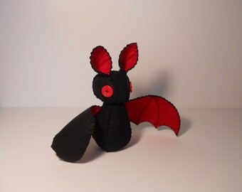 Felt black and red bat stuffed plush toy