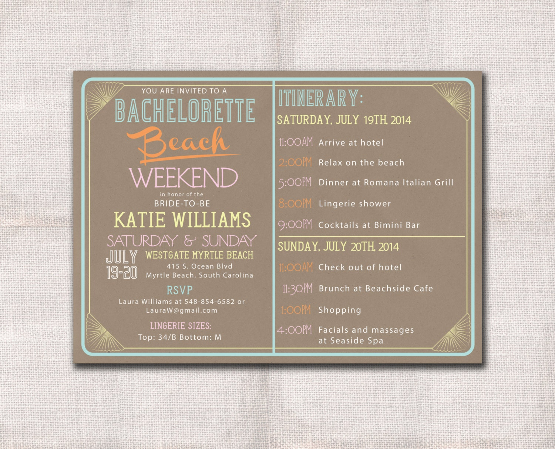 Bachelorette itinerary template – Bachelorette Party Weekend Invitations