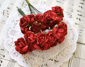 24 Handmade Millinery Paper Flowers, Scarlet Red